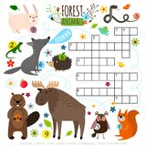 Forest animals crossword puzzle. Animals crossword. Book puzzle cross word game with forest animals vector illustration Stock Photography