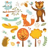 Forest animals. Cute forest animals colorful collection. vector illustration Stock Photography