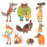 Forest Animals Dressed In Human kläderuppsättning av illustrationer Arkivbilder