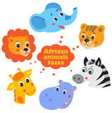 Forest Animals Faces Icons Set Lizenzfreie Stockbilder