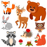 Forest animals. Fox, bear, raccon, hare, deer, owl, hedgehog, squirrel, agaric and tree stump Stock Photos