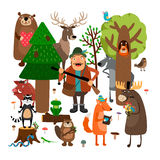Forest animals and hunter. Vector illustration Royalty Free Stock Images