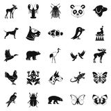 Forest animals icons set, simple style. Forest animals icons set. Simple set of 25 forest animals icons for web isolated on white background Stock Images