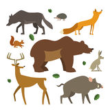 Forest animals icons set. Wild european animals collection. Stock Photo