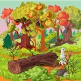 Forest And Animals Illustration illustration de vecteur