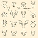 Forest animals line icons Stock Photography