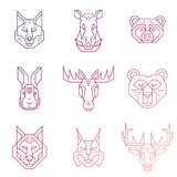 Forest animals linear heads line icons with gradient fill. Royalty Free Stock Images