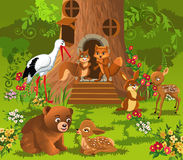 Forest animals living in the tree house Royalty Free Stock Photos
