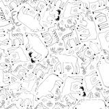 Forest animals pattern, black and white Royalty Free Stock Photo