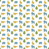 Forest animals pattern. Blue moose, yellow rabbit, blue bear, yellow fox, green fir. Seamless pattern for kids design.White backgr vector illustration