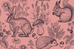 Seamless pattern with animals and flowers royalty free illustration
