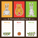 Forest animals printable cards Royalty Free Stock Image