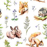 Forest animals - rabbits, fox, squirrel, hedgehog in grass and flowers. Seamless pattern. Watercolor