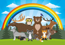 Forest animals and a rainbow. Forest animals and a rainbow in a blue sky Royalty Free Stock Photography