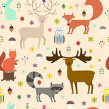 Forest animals seamless background. Flat style animals texture. Vector illustration Stock Image