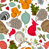 Forest animals seamless pattern. Forest animals and plants seamless pattern Stock Photography