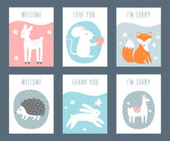 Forest Animals Sentimental Notes et cartes Image stock