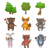 Forest Animals Set amichevole Immagine Stock