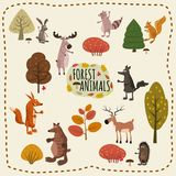 Forest animals set cute, with elements of forest, trees, mushrooms, elk, deer, wolf, squirrel, raccoon, hare, fox. Forest animals set. Vector illustration Royalty Free Stock Photography