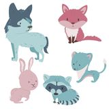 Cute forest animals set in pastel colors. Forest animals  set with isolated cartooning fox wolf stoat rabbit raccoon in pink blue colors Royalty Free Stock Photos