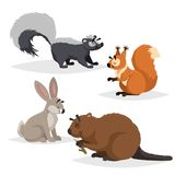 Forest animals set. Skunk, squirrel, hare and beaver. Happy smiling and cheerful characters. Vector zoo illustrations Royalty Free Illustration