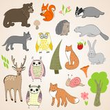 Forest  animals. Set of vector hand drawn forest animals Stock Photos