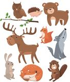 Forest animals set, woodland cute animal owl bird, bear, hedgehog, deer, squirrel, wolf, hare, fox, beaver cartoon. Vector Illustrations on a white background Royalty Free Stock Photography