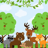 Forest Animals Vector Background Photographie stock