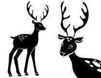 Forest animals vector silhouettes set. Predator animal mammal, illustration of black silhouette deer. hand drawing. Sketch royalty free illustration