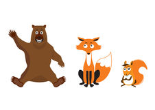 Forest animals on a white background. Icons of cute animals. Cartoon characters animals Stock Images
