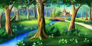 Forest Around mágico o castelo do conto de fadas ilustração stock
