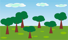 Forest. Art with trees, sky ,grass, and clouds. Make with corel draw stock illustration