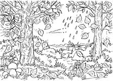 Forest in autumn royalty free illustration