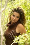 Forest Babe. Woman wearing a mesh top, standing in the forest Royalty Free Stock Images