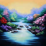Forest backdrop. Painted theatre backdrop featuring a forest and flowing stream Royalty Free Stock Photos