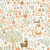 Forest background. Seamless background with autumn forest ornament Royalty Free Stock Photo