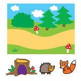 Forest Background For Animation simple Imágenes de archivo libres de regalías