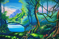 Forest background. Theatre backdrop featuring jungle setting Stock Photo