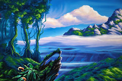 Forest background. Theatre backdrop featuring jungle setting Royalty Free Stock Images
