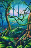 Forest background. Theatre backdrop featuring rainforest setting Stock Images