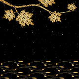 Forest background. Vector black background with golden maple leaves Royalty Free Stock Photos