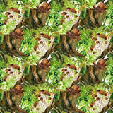 Forest background. Woods seamless pattern Stock Photo