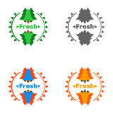 Forest badges with fresh air. Set of 4 pieces Stock Photos