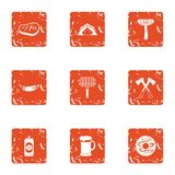 Forest barbecue icons set, grunge style. Forest barbecue icons set. Grunge set of 9 forest barbecue vector icons for web isolated on white background Royalty Free Stock Image