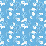 Forest bear and tree branch seamless pattern. Vector background Stock Photography