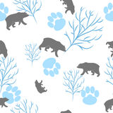 Forest bear and tree branch seamless pattern. Vector background Stock Photo