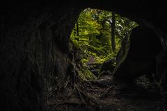 The forest of Berdorf in Luxembourg. Hohllay Cave in the forest of Berdorf in Luxembourg royalty free stock photography