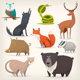Forest birds and animals. Set of popular colorful vector forest animals and birds Stock Photography