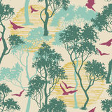 Forest birds seamless pattern Stock Photos