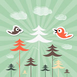Forest and Birds Vector Illustration Royalty Free Stock Photography